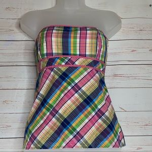 Lilly Pulitzer White Label Plaid Strapless Top 0